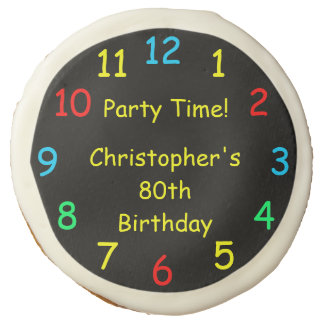 Party Time Colorful Favors for 80th Birthday Party Sugar Cookie