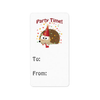 Party time! Confetti Hedgehog Label