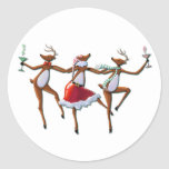 PARTY TIME DANCING REINDEER by SHARON SHARPE Classic Round Sticker