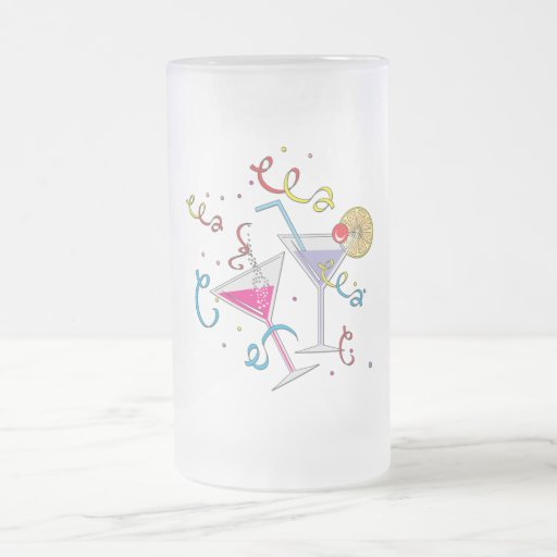 Party Time Gear Frosted Glass Beer Mug