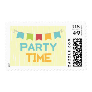 Party time gender neutral birthday postage stamps