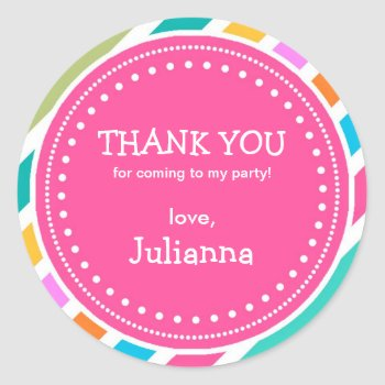 Party Time Girls Birthday Thank You Favor Sticker by Orabella at Zazzle
