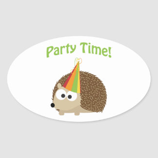 Party Time! Hedgehog Oval Sticker