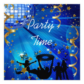 Party Time Invitation Blue Gold Stars Rave Announcement