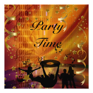 Party Time Invitation Gold Stars Rave Announcements