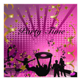Party Time Invitation Pink Gold Stars Rave Personalized Invite