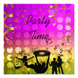 Party Time Invitation Yellow Pink Gold Stars Rave Personalized Announcement