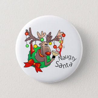 PARTY TIME NAUGHTY SANTA by SHARON SHARPE Pinback Button