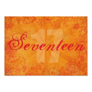 Party Time Orange 17th Birthday Invitation