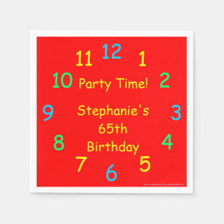 Party Time Paper Napkins, 65th Birthday, Red Paper Napkin