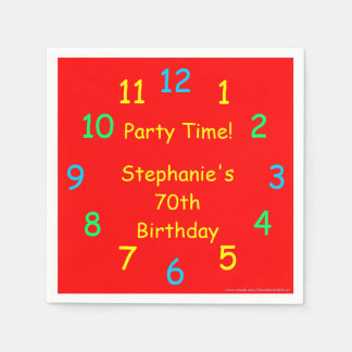 Party Time Paper Napkins, 70th Birthday, Red Paper Napkin