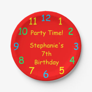 Party Time Paper Plates, 7th Birthday, Red 7 Inch Paper Plate