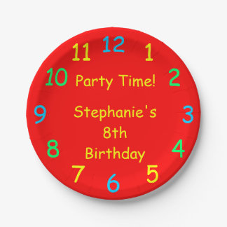 Party Time Paper Plates, 8th Birthday, Red 7 Inch Paper Plate