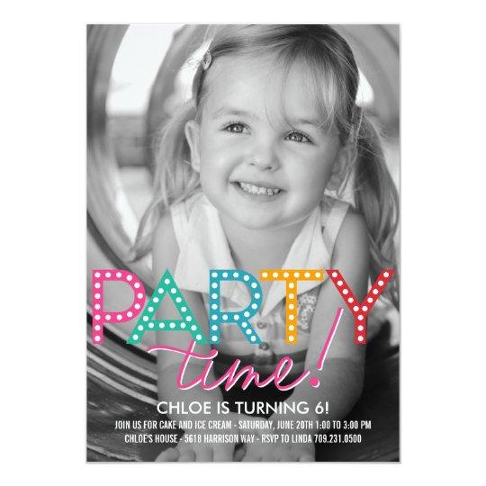 Party Time Photo Birthday Invitation