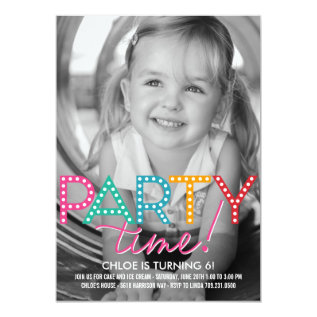 Party Time Photo Birthday Invitation at Zazzle