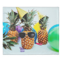 Party Time Pineapples with Party Favors, ZSSG King Duvet Cover