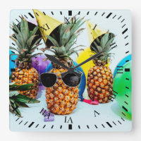 Party Time Pineapples with Party Favors, ZSSG Square Wall Clock