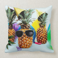 Party Time Pineapples with Party Favors, ZSSG Throw Pillow