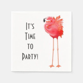 Party Time Pink Flamingo Paper Napkins