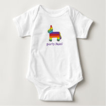 Party Time Rainbow Birthday Donkey Piñata Fiesta Baby Bodysuit