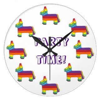 PARTY TIME! Rainbow Donkey Piñata Fiesta Birthday Large Clock