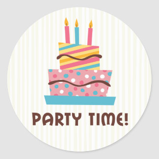 Party time retro birthday cake - creme background stickers