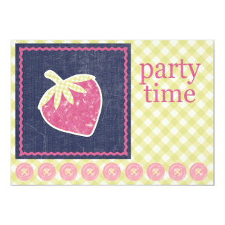 """Party Time ~ Strawberry 2 5"""" X 7"""" Invitation Card"""