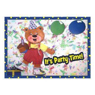 Party Time Teddy Bear Custom Invite