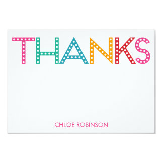 "Party Time Thank You Cards - Blue 3.5"" X 5"" Invitation Card"