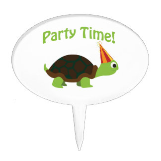 Party time! turtle cake topper