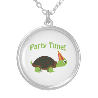 Party Time! Turtle Round Pendant Necklace