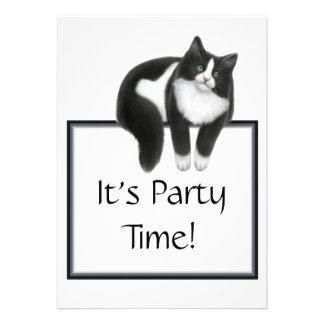 Party Time Tuxedo Cat Invitation