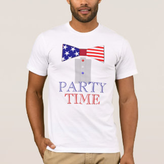 Party Time US Flag Bow Tie T-Shirt