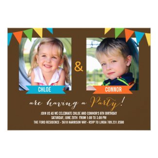 Party Together Birthday Invitations - Brown