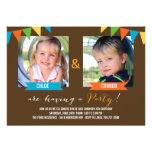 Party Together Birthday Invitations - Brown Personalized Invite