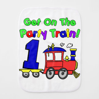 Party Train First Birthday Baby Burp Cloth