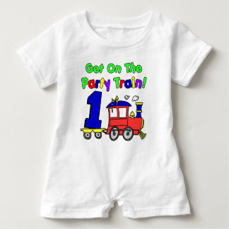 Party Train First Birthday Baby Romper