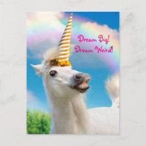 Party Unicorn Horse And Rainbow Invitation Postcard