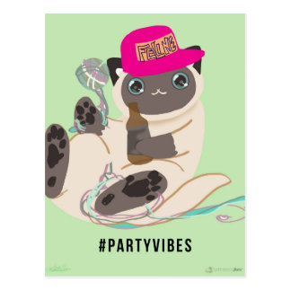 Party Vibe Basic Cat Postcard