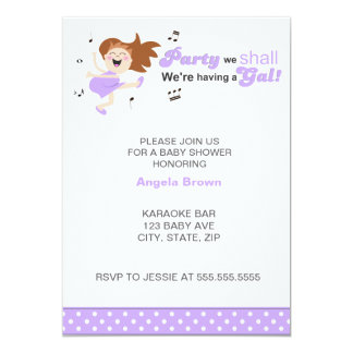 """Party we shall we're having a gal girl baby shower 5"""" x 7"""" invitation card"""