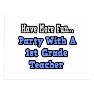 Party With A 1st Grade Teacher Postcard