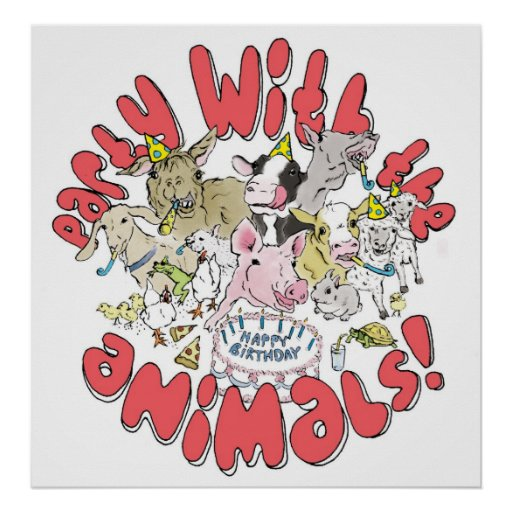 PARTY WITH THE ANIMALS POSTER