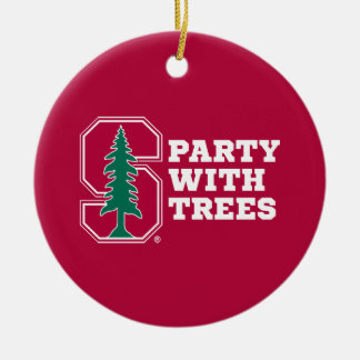 Party With Trees Double-Sided Ceramic Round Christmas Ornament