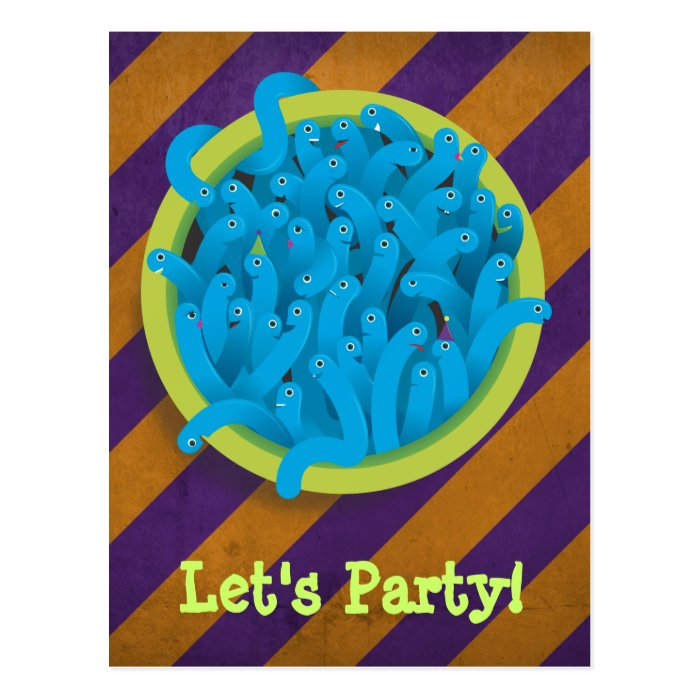 Party Worms - Blue Postcard
