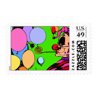 Partying Harlequin Balloons & Blower POSTAGE STAMP