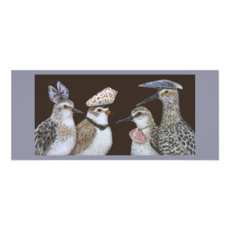Partying shorebirds flat card