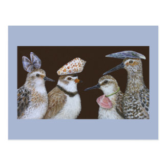 Partying Shorebirds postcard
