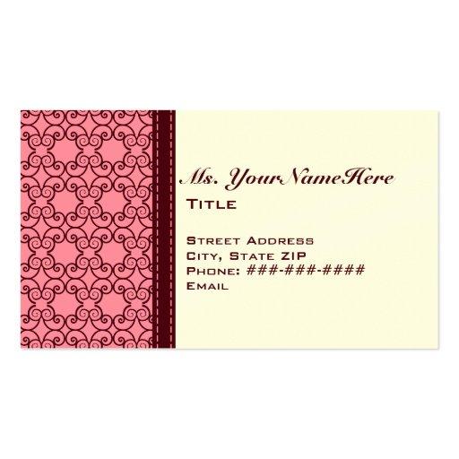 Pasa y tarjeta de visita rosada del cordón