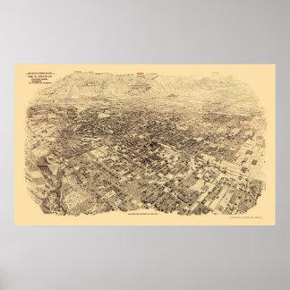 Pasadena CA Panoramic Map - 1903 Posters