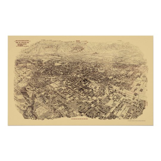 Pasadena, CA Panoramic Map - 1903 Poster